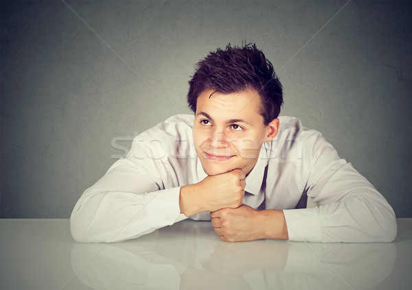 Lövés jóképű férfi néz figyelmes boldog jóképű Stock fotó © ichiosea