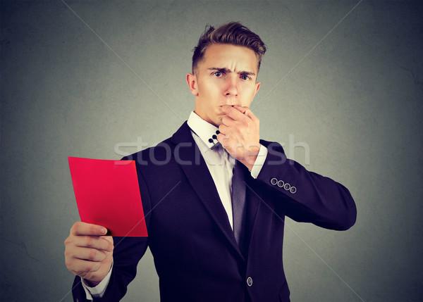 Frustrado homem de negócios árbitro vermelho cartão Foto stock © ichiosea