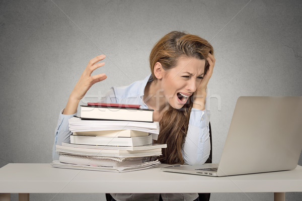 girl stressed by studying to hard screaming  Stock photo © ichiosea