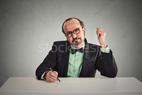 интервью серьезный бизнесмен очки глядя Сток-фото © ichiosea