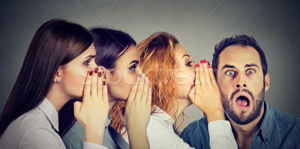 Nők suttog egyéb megrémült férfi fül Stock fotó © ichiosea