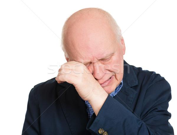Sír férfi közelkép portré szomorú idős Stock fotó © ichiosea