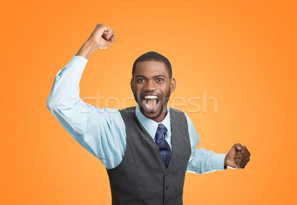 Opgewonden gelukkig man succes goede resultaat Stockfoto © ichiosea