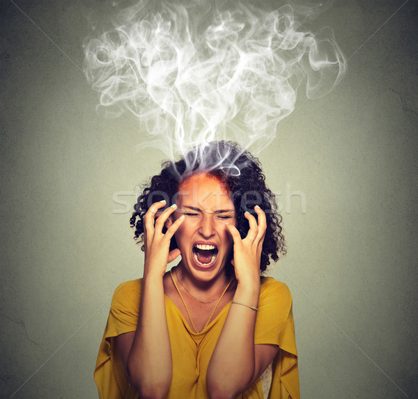 Very angry pissed off woman screaming steam smoke coming out up of head Stock photo © ichiosea