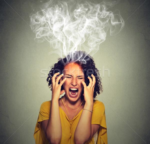 怒っ オフ 女性 悲鳴 蒸気 煙 ストックフォト © ichiosea