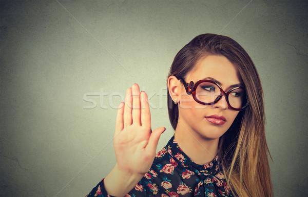 Stok fotoğraf: Rahatsız · öfkeli · kadın · kötü · tutum · konuşmak