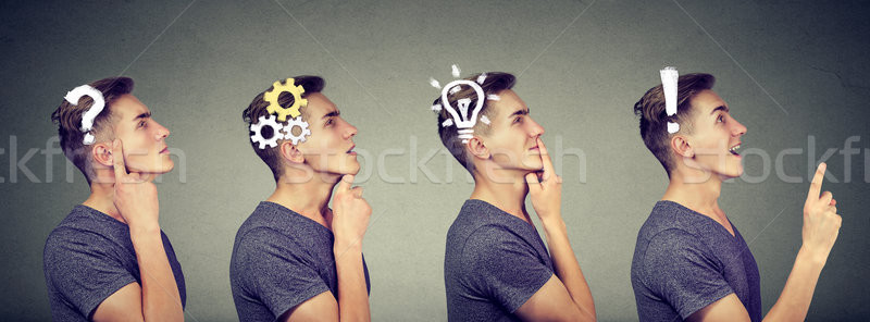 Emotional intelligence. Side view sequence of a man thoughtful, thinking, finding solution with gear Stock photo © ichiosea