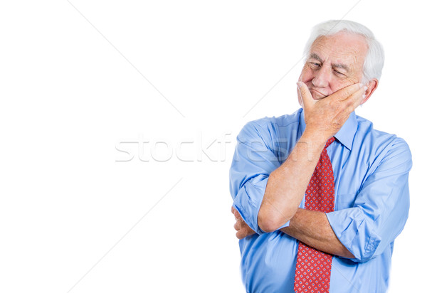 Stock photo: old man thinking trying to recollect
