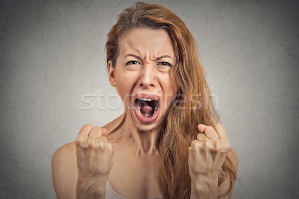 angry young woman hysterical having nervous breakdown Stock photo © ichiosea