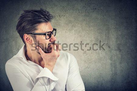 Człowiek telefonu głowy komórkowej komórkowych promieniowanie Zdjęcia stock © ichiosea