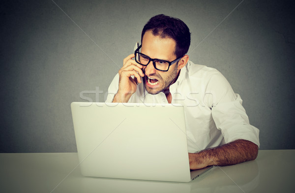 man frustrated and angry shopping online screaming on phone Stock photo © ichiosea