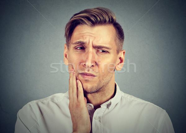 Mann empfindlich Zahnschmerzen Problem Schrei Schmerzen Stock foto © ichiosea