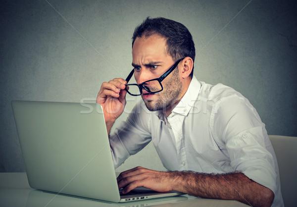 男 眼鏡 視力 問題 混乱 ノートパソコン ストックフォト © ichiosea