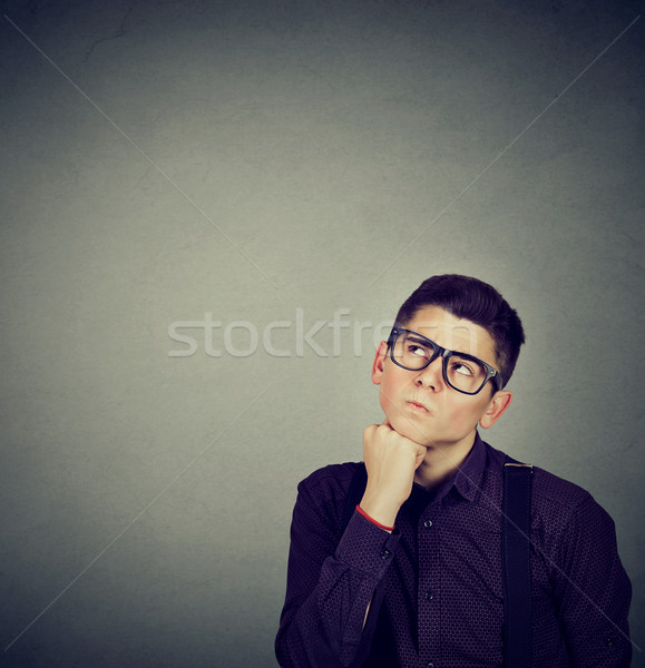 man thinking making up his mind looking up  Stock photo © ichiosea