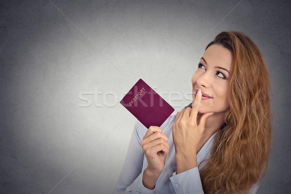 Mosolyog boldog nő áll tart útlevél Stock fotó © ichiosea