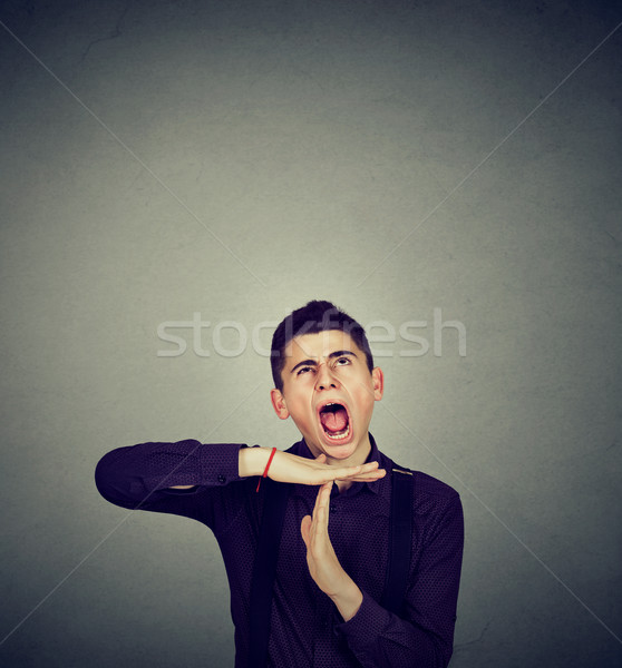Accablé homme temps sur geste Photo stock © ichiosea