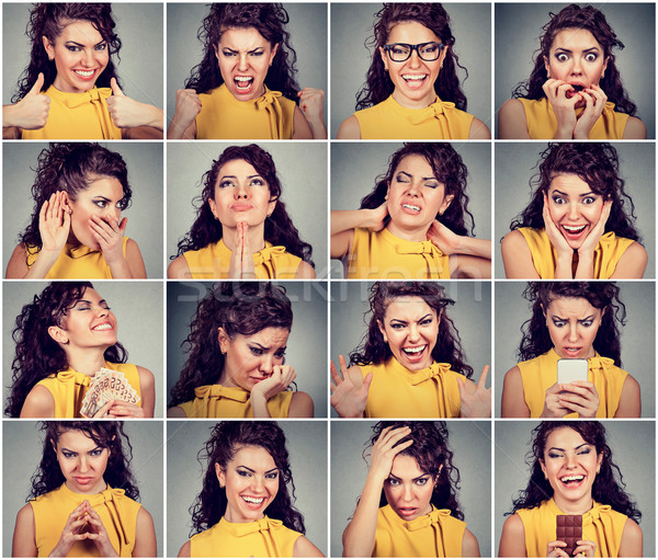 Collage of a young woman expressing different emotions and feelings  Stock photo © ichiosea