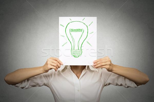 üzletasszony zöld villanykörte fej izolált szürke Stock fotó © ichiosea