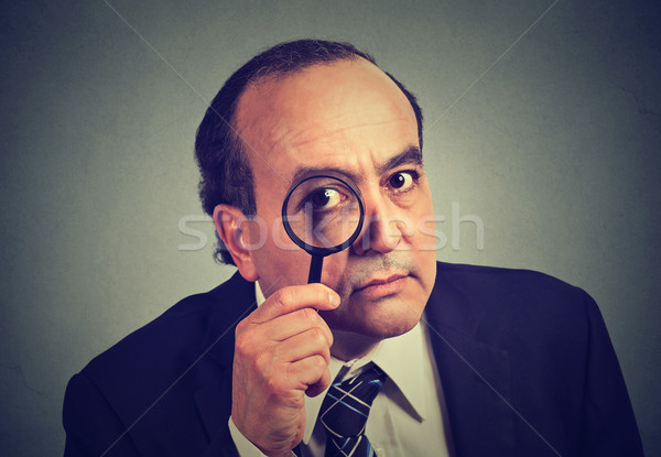 investigator business man looking with magnifying glass  Stock photo © ichiosea