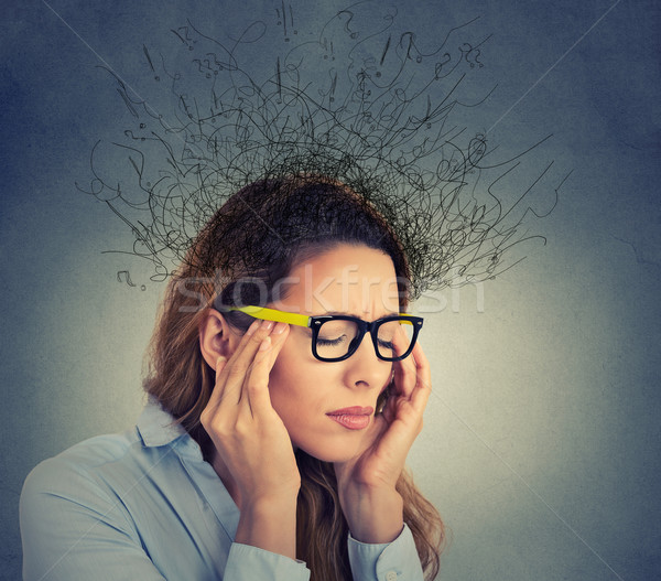stressed business woman having headache brain melting into lines question mark  Stock photo © ichiosea