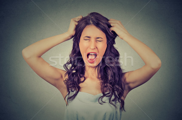 Frustrated and angry woman is screaming out loud and pulling her hair  Stock photo © ichiosea