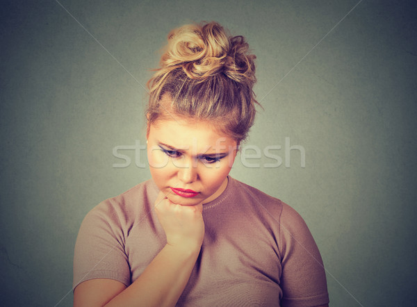 Unglücklich Übergewicht Frau depressiv Blick nach unten menschlichen Stock foto © ichiosea