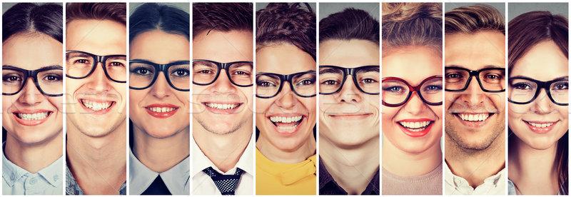 Több nemzetiségű csoport boldog emberek szemüveg férfiak nők Stock fotó © ichiosea