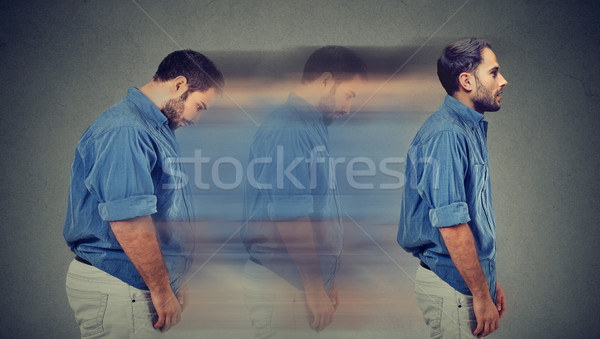 Lato profilo giovani triste paffuto uomo Foto d'archivio © ichiosea
