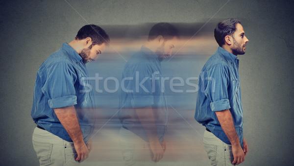 Oldal profil fiatal szomorú pufók férfi Stock fotó © ichiosea