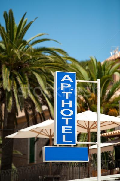 отдельно отель знак пальмами Сток-фото © ifeelstock