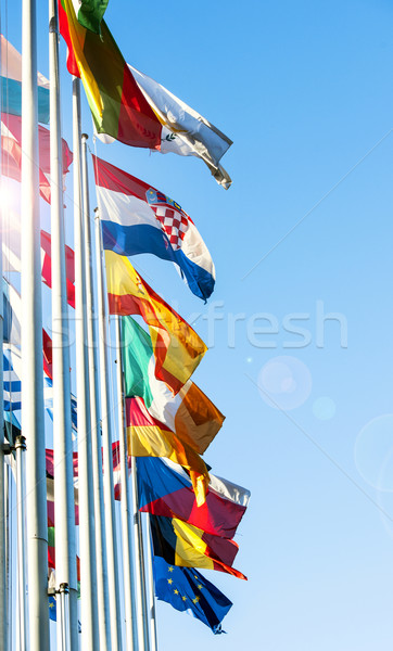 EU Member flags in front of European Prliament Stock photo © ifeelstock