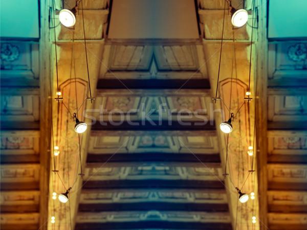 Rangée halogène lampes modernes historique plafond Photo stock © ifeelstock