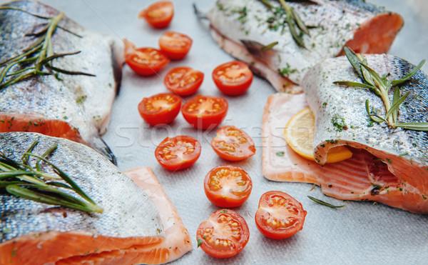 Fresh salmon with cherry tomato Stock photo © ifeelstock