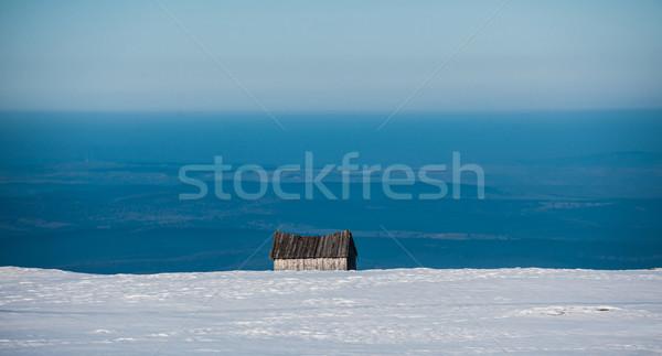 Abandoned house in snow mountain Stock photo © ifeelstock