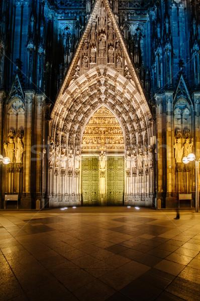 Cathédrale façade nuit pierre porte Photo stock © ifeelstock