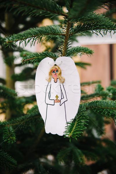 Christmas angel from used cardboard Stock photo © ifeelstock