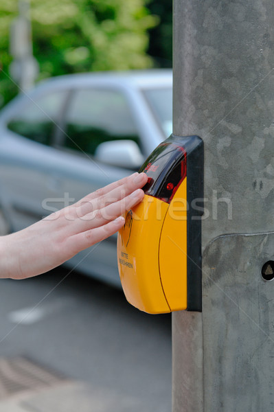 Pressing the yellow crosswalk button Stock photo © ifeelstock