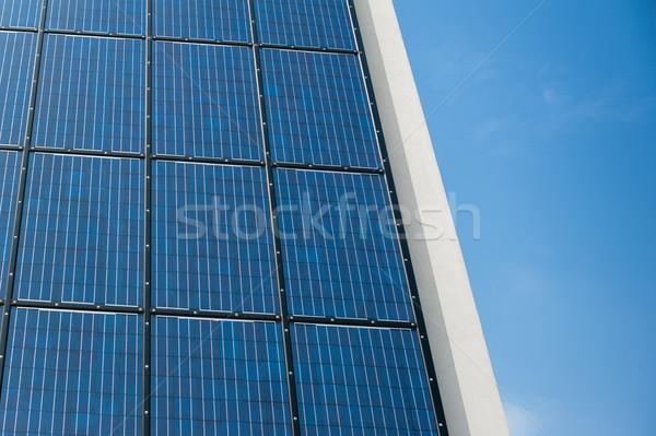 Azul solar painel célula parede sol Foto stock © ifeelstock