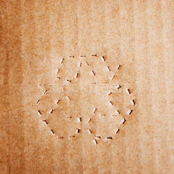 Green recycle symbol on cardboard Stock photo © ifeelstock
