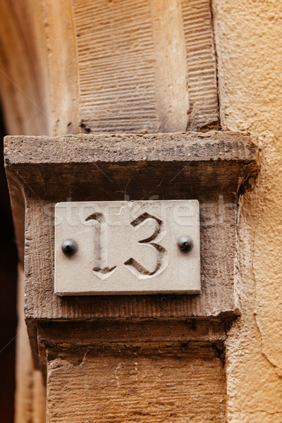 Thirteen house number plate Stock photo © ifeelstock
