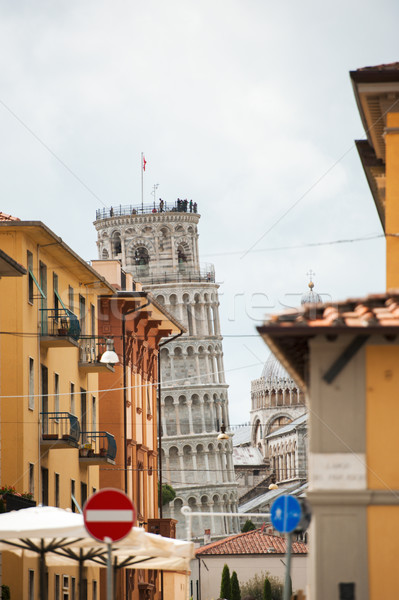 Pisa street and Leaning Tower Stock photo © ifeelstock