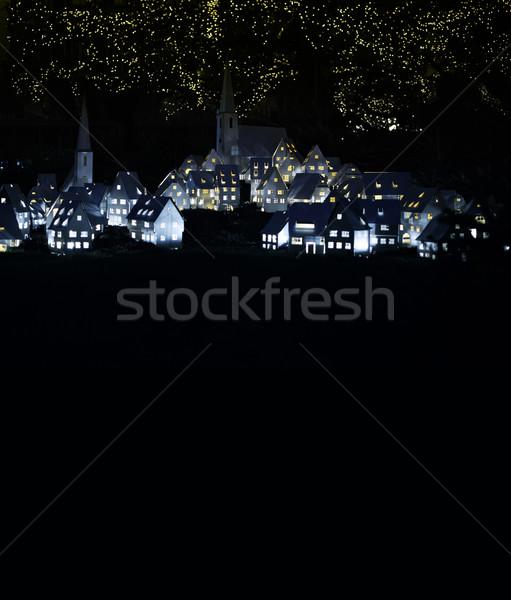 Nacht stad sprookje dorp exemplaar ruimte tekst Stockfoto © ifeelstock