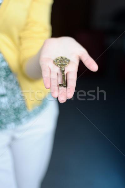 Mani chiave oro focus utile Foto d'archivio © ifeelstock