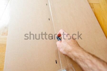 Opening a cardboard box Stock photo © ifeelstock