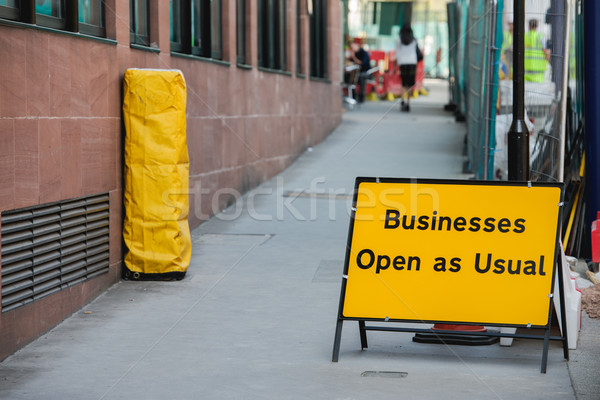 Businesses open as usual sign Stock photo © ifeelstock
