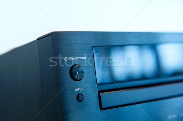 Audio detail stand knop Blauw kleur Stockfoto © ifeelstock