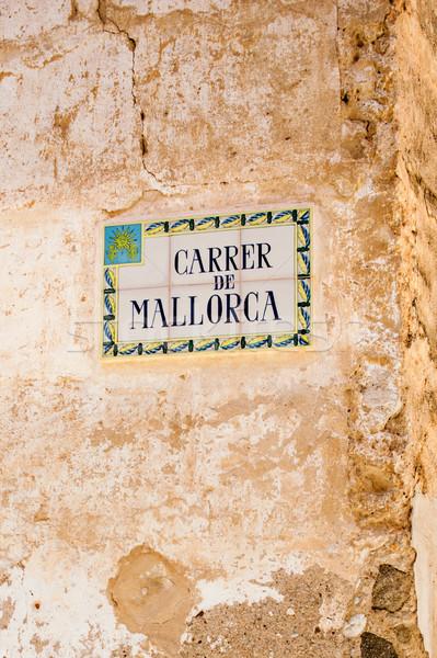 Majorca Street tiled street sign Stock photo © ifeelstock