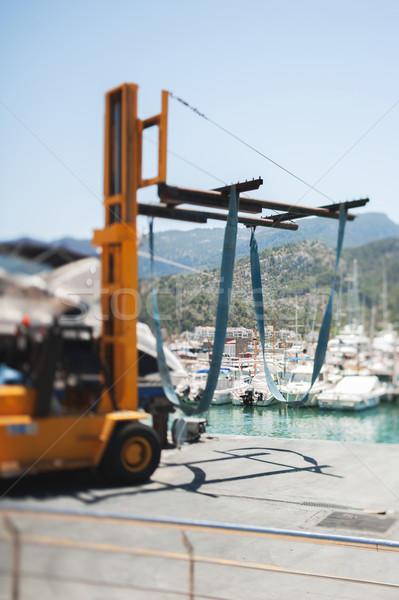 Targonca jacht állvány használt luxus kikötő Stock fotó © ifeelstock