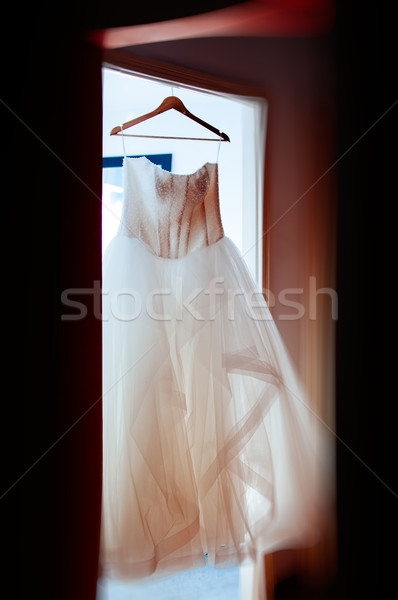 Wedding dress in house readdy for the big d day Stock photo © ifeelstock