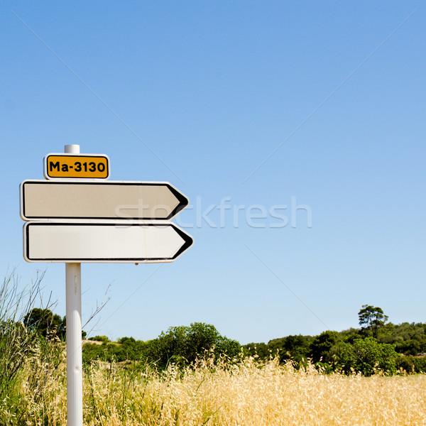 Foto stock: Vazio · placa · sinalizadora · campo · amarelo · trigo · campo · de · grama
